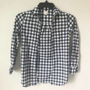 🦋3/$20 J CREW Navy Gingham Button Down Top